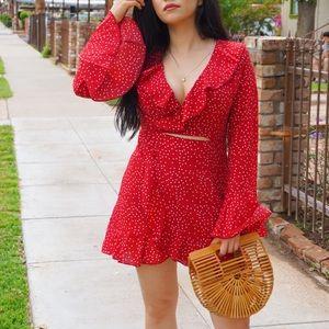 Dresses & Skirts - Red Polka Dot Wrap Dress ♥️